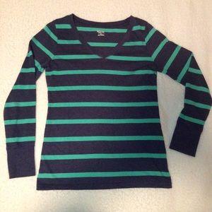 navy and aqua striped v-neck long sleeve tee